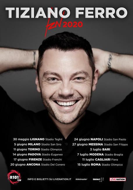 """""""TZN 2020"""", il nuovo tour di Tiziano Ferro"""