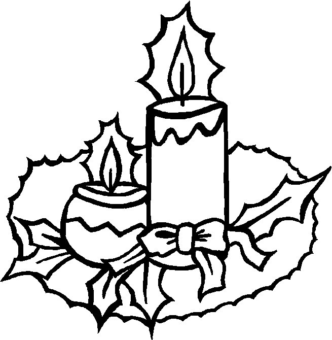 Christmas Candle Coloring Page Sketch Coloring Page