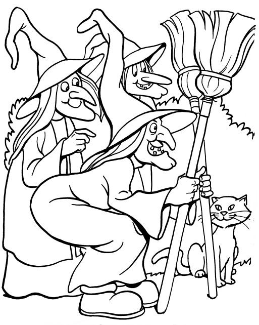 Printable Halloween Coloring Page: three witches