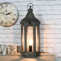 Antique Wooden Lantern Style Table Lamp - Melody Maison