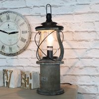 Antique Wooden Miners Lantern Style Table Lamp - Melody ...