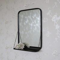 Black Metal Industrial Vanity Wall Mirror with Shelf ...