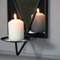 Black Wall Mirror with Candle Sconce - Melody Maison