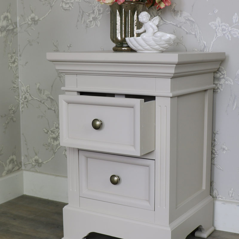 2 Drawer Antique White Bedside Table Daventry Grey Melody Maison