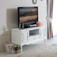 White wood TV media unit cabinet shabby french chic ornate