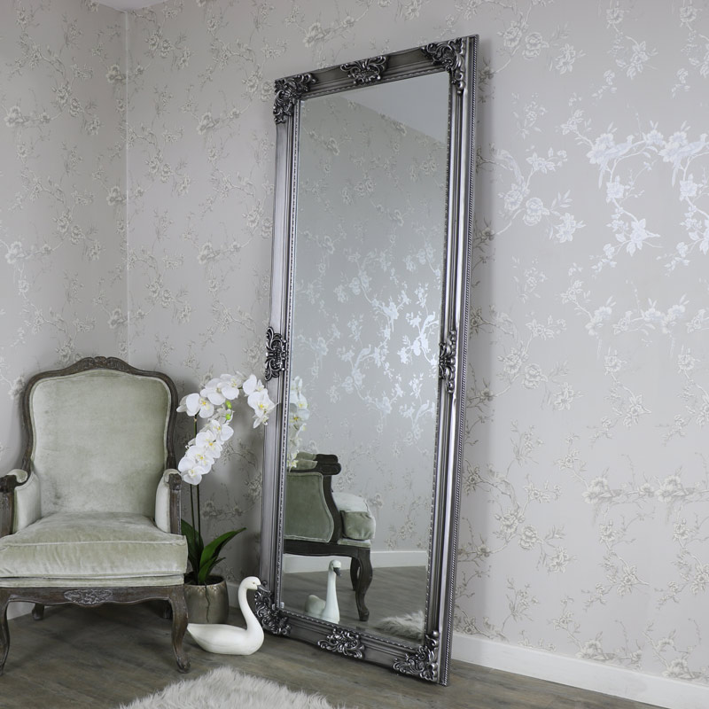 Extra Extra Large Ornate Antique Silver Full Length WallFloor Mirror  Melody Maison