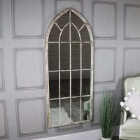 Large Rustic Arched Window Mirror - Melody Maison