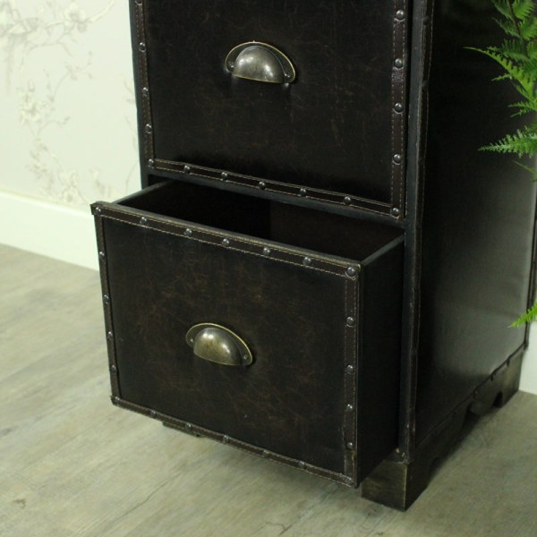 Faux Leather Chest of Drawers