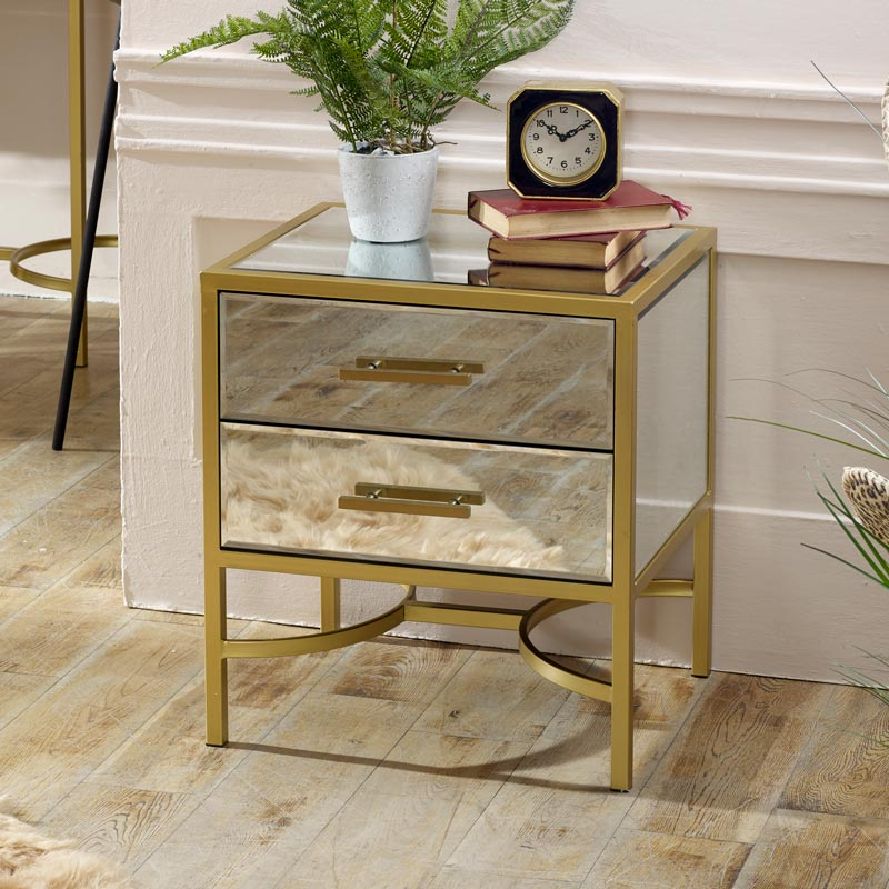 gold mirrored bedside occasional table venus range