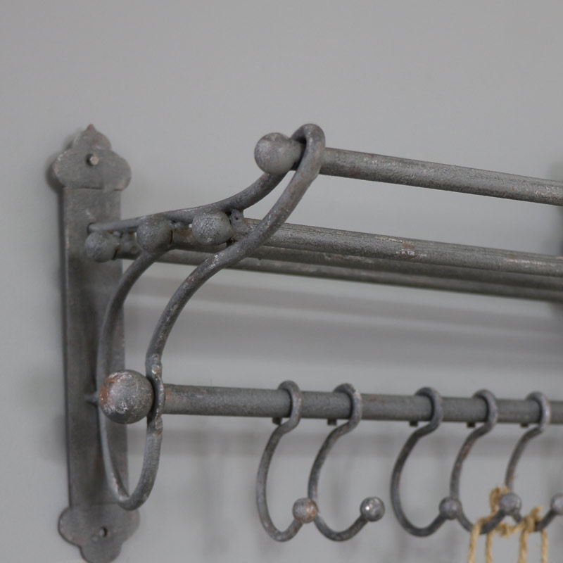 Grey Metal Rustic Towel Rail With Hanging Hooks Melody