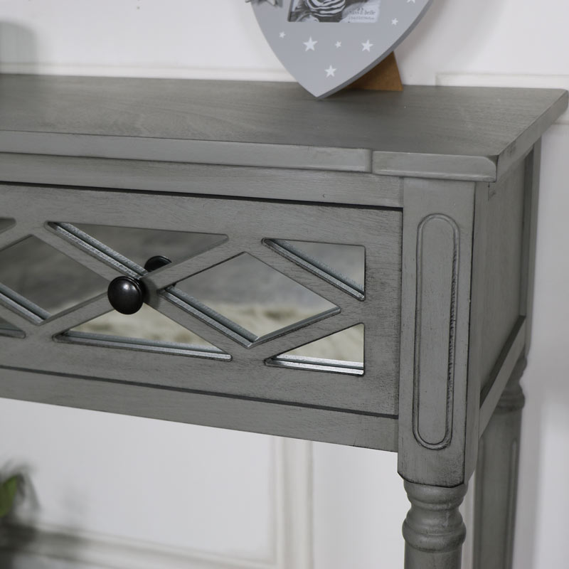 Grey Mirrored Console Table Vienna Range  Melody Maison
