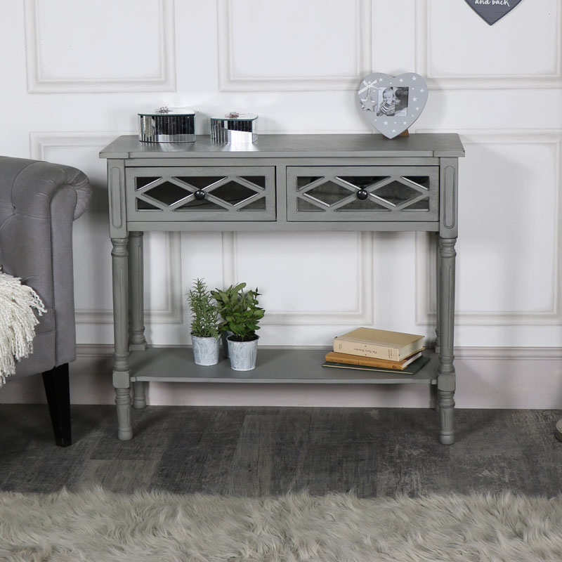 living room console tables mirrored photos of modern designs ornate grey mirror front 2 drawer table hallway please note this item carries an additional delivery charge for scotland and non mainland addresses 15 00