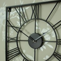 Large Black Iron Square Skeleton Wall Clock