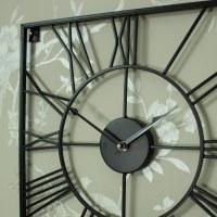 Large Black Iron Square Skeleton Wall Clock - Melody Maison