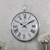Large Round Silver Wall Clock - Melody Maison