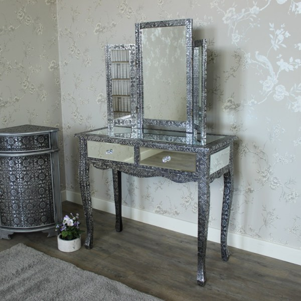 Monique Range - Silver Mirrored Dressing Table And Triple