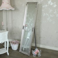 Ornate Silver Floor Standing Mirror - Melody Maison