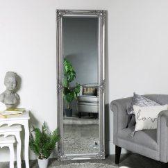 Full Length Mirror In Living Room Wall Shelves Designs Ornate Silver 168cm X 54cm Melody Maison