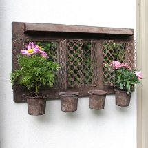 Rustic Metal Garden Mirror With Four Planters - Melody Maison
