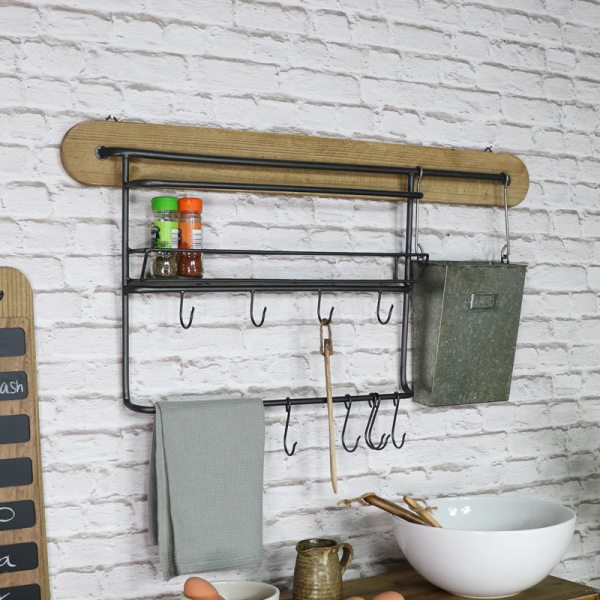 Rustic Metal Utility Shelves With Hooks - Melody Maison