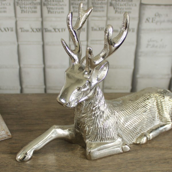 Silver Sitting Stag Ornament - Melody Maison