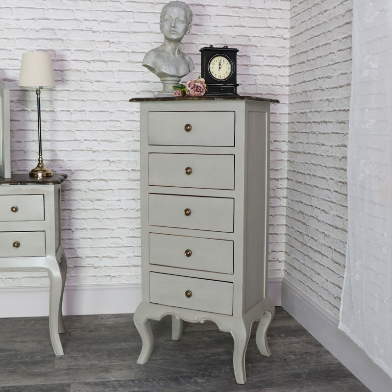 Tall Vintage Grey Tallboy Chest of Drawers - Leadbury ...