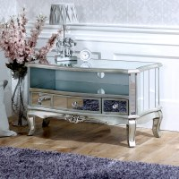 Mirrored vintage style TV cabinet unit shabby french chic ...
