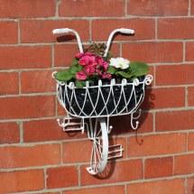 White Metal Bicycle Basket Wall Planter - Melody Maison