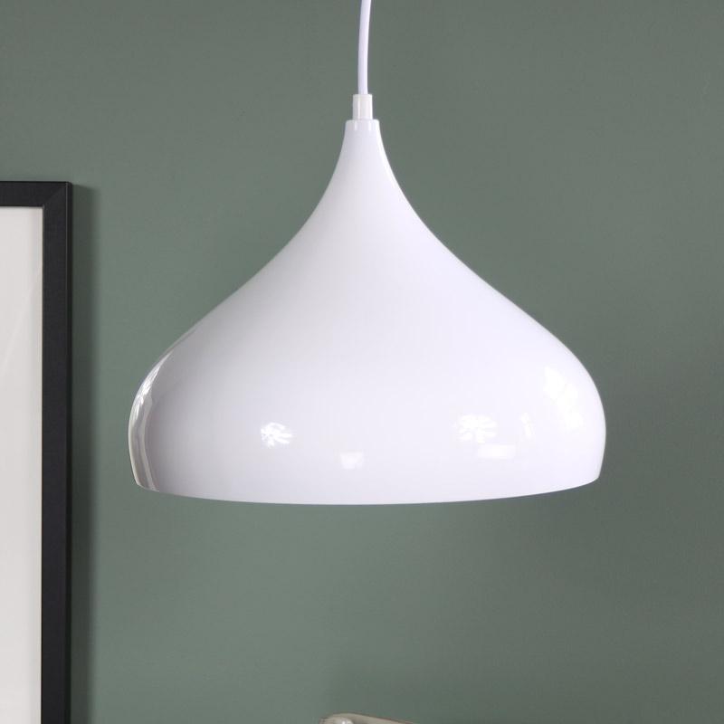 White metal dome pendant ceiling light fitting shabby