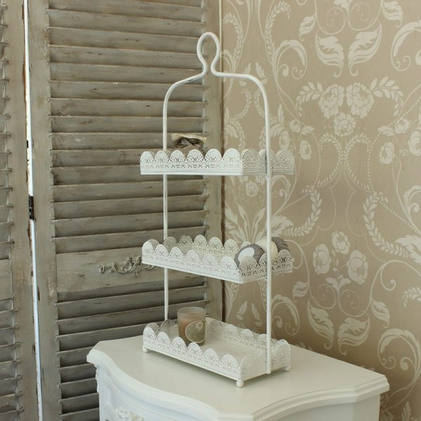 White Three Tier Lace Cake Display Stand - Melody Maison