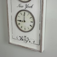 White Wooden Distressed 'Time Zone' Triple Wall Clock ...