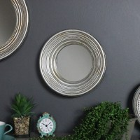 Antiqued Round Silver Wall Mirror - Melody Maison