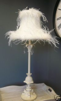 LARGE LAMP Cream Feather bedside table vintage chic french ...