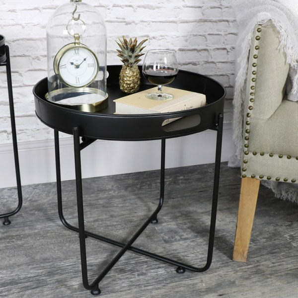 Black Butlers Serving Tray Table - Melody Maison