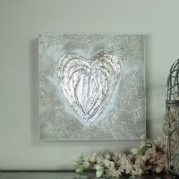 Silver Love Heart Canvas Wall Art - Melody Maison