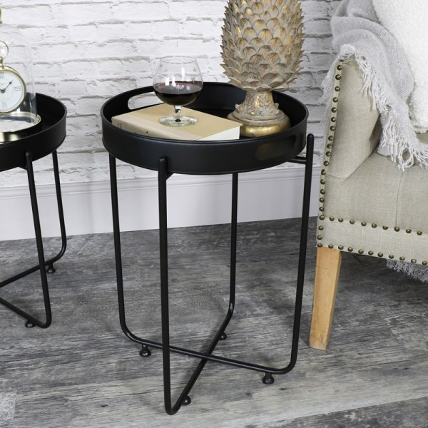 Tall Black Butlers Serving Tray Table - Melody Maison