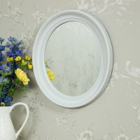 White Oval Bevelled Framed Wall Mirror - Melody Maison