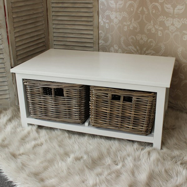 White Wood Coffee Table With Wicker Baskets - Melody Maison
