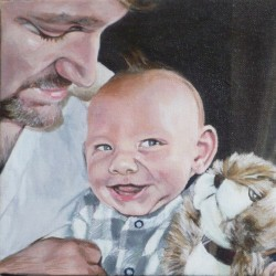 "Adrian and Logan, 2012, Full Colour Acrylic Painting on Canvas, 9""x12"""