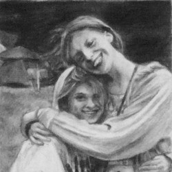 "Ida and Melody, 2012, Graphite Pencil Drawing on Paper, 4""x6"""