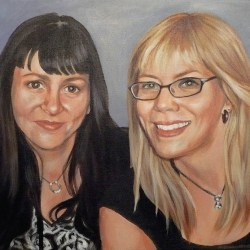"""Lesley and Lindsay, 2012, Full Colour Acrylic Painting on Canvas, 14""""x16"""""""