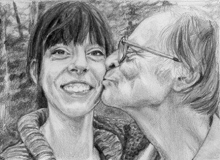 "Melody and Justin, 2009, Father and Daughter Portrait, Graphite Pencil Drawing on Paper, 5""x7"""
