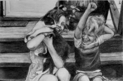 "Mikey, Mel and Scottie, 2012, Graphite Pencil Drawing on Paper, 4""x6"""
