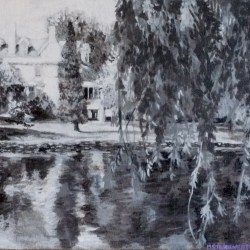 "Perth Portrait No. 3 (Stewart Park), 2012, Black and White Acrylic Painting on Canvas, 10""x12"""
