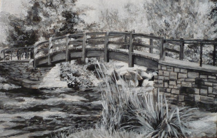 "Perth Portrait No. 1 (Red Bridge), 2012, Black and White Acrylic Painting on Canvas, 8""x12"""