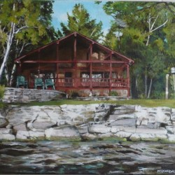"Podedworny Cottage (Otty Lake), 2012, Full Colour Acrylic Painting on Canvas, 10""x12"""