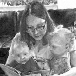 """Sarah, Maren and Holly, 2015, Group Portrait, Graphite Pencil Drawing on Paper, 5""""x7"""""""