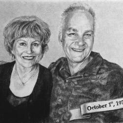"Janice & Marc, 2017, Pencil Drawing on Paper, 5"" x 7"""