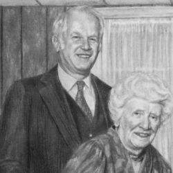 "Martin & Gran, 2018, Pencil Drawing on Paper, 8"" x 10"""