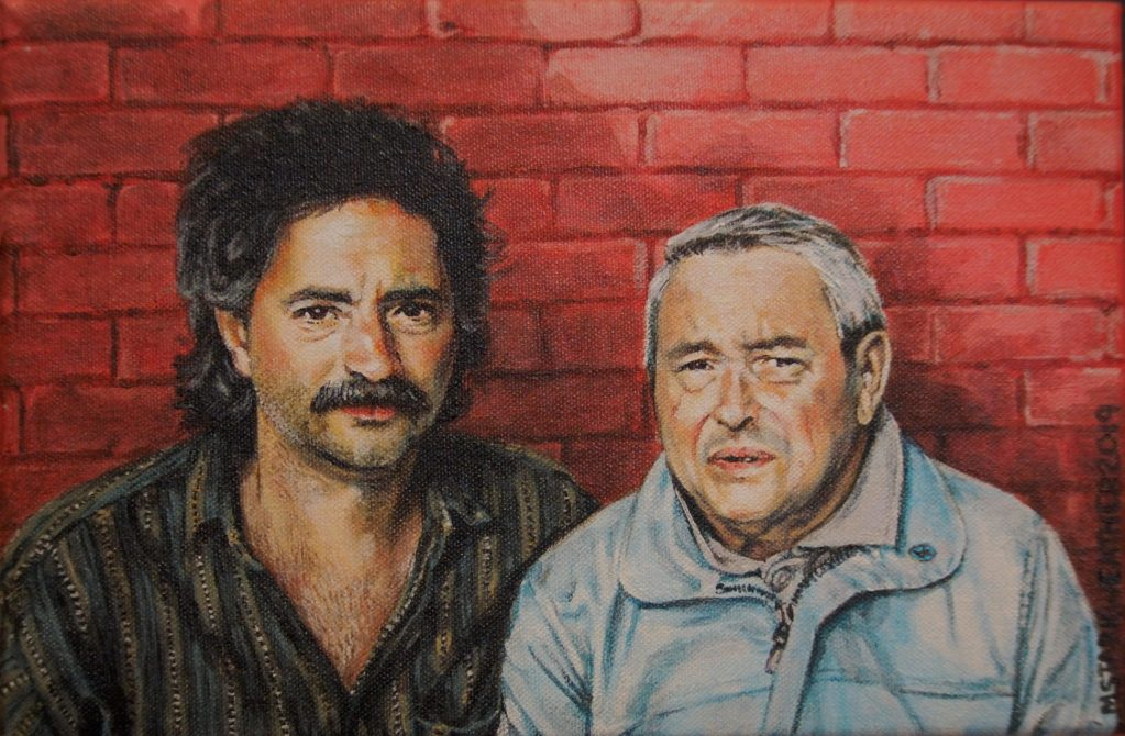 "Dave & Al, 2019, Acrylic Painting on Canvas, 9"" x 12"""